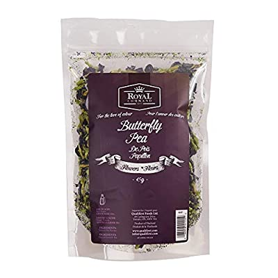 Premium Thai Butterfly Pea Flower Blue Herbal Tea by Royal Command - 1.6 oz (45 g) | Whole, All Natural, Vegan, Food Coloring, Dried for Food & Beverage
