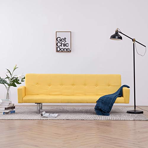 vidaXL Sofa Bed with Armrest Yellow Polyester,Wooden Frame and Chromed Legs,Convertible Sectional Sofa,Living Room, 72.4' x 30.5' x (23.8' / 25.5' / 26.2')