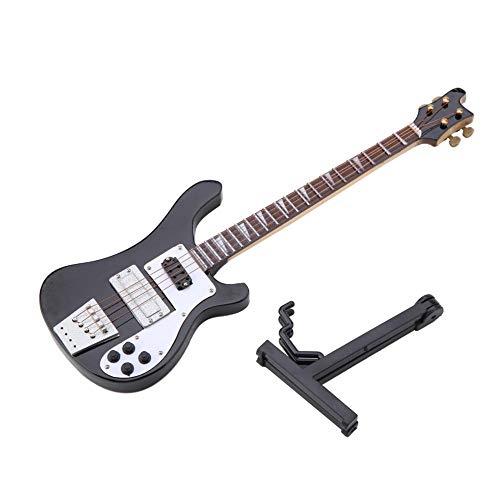 Huairdum Miniatur Bassgitarren Modell, Basswood Instrument Ornamente Modell 7.9x2.4x0.4in mit Ständer und Koffer Geburtstagsgeschenk für Kinder und Musiker Freunde