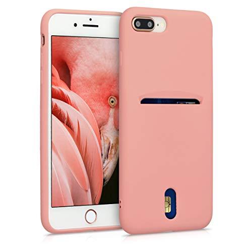 kwmobile Cover Compatibile con Apple iPhone 7 Plus / 8 Plus - in Silicone Morbido - Custodia con Scomparto Porta Carte Biglietti - Back Case Rosa Antico Matt