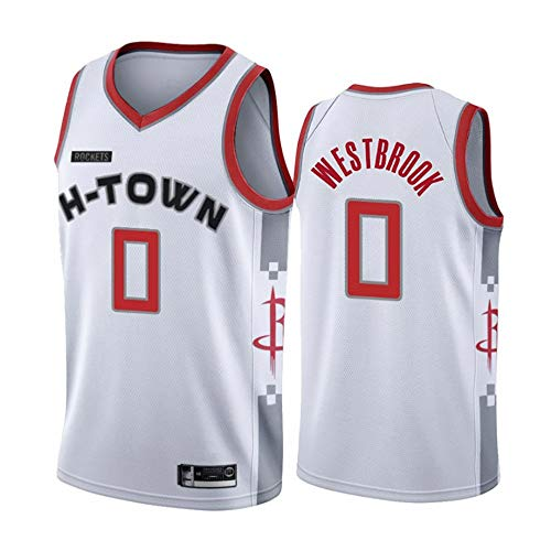 GLACX NBA Houston Rockets 0# Westbrook Classic Jersey, Retro cómodo/Ligero/Transpirable Malla Bordada Camisetas Deportivas, Fan Unisex Swingman Jerseys,XL