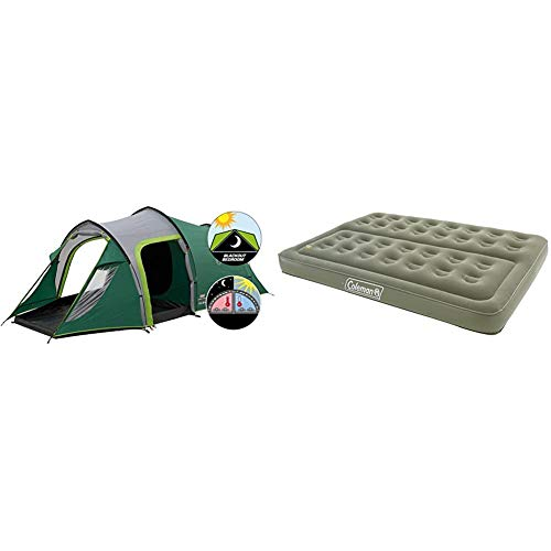 Coleman Chimney Rock 3 Plus Tent - Green/Grey, One Size & Comfort Double Flocked Surface Inflatable Camp Air Bed - Green, 188 x 137 x 22 cm