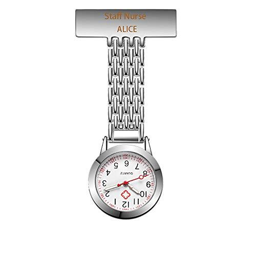 Personalisierte Krankenschwestern Fob Watch eingraviert Benutzerdefinierten Namen Clip-on hängende Taschenuhr im Dunkeln leuchten medizinische Uhr für Männer Frauen