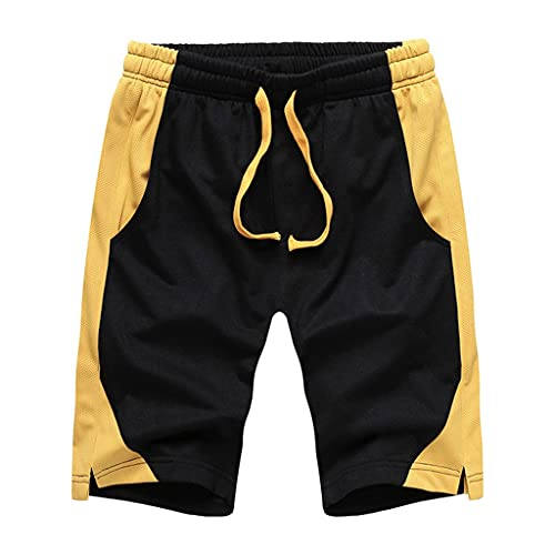 DYXYH Moda Hombres Pantalones Cortos de Verano Gimnasio Gimnasio Fitness cordón Corto Pantalones Cortos Hombre Transpirable trozo Correr Deportes Pantalones Cortos (Color : D, Size : XX-Large)