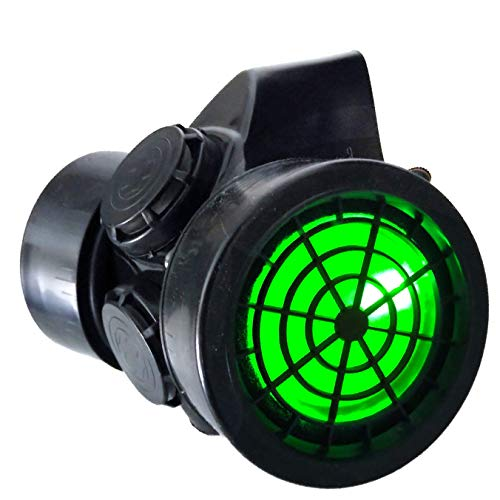 TrYptiX Men's LED Black Framed Steampunk Gas Mask Green Lights