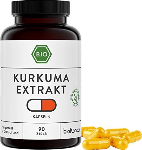 BIO Kurkuma Extrakt Kapseln | 90 Kapseln | 500 mg je Tagesdosis - 1 Kapsel | vegan und ohne Zusätze | in Deutschland hergestellt und laborgeprüft | bioKontor