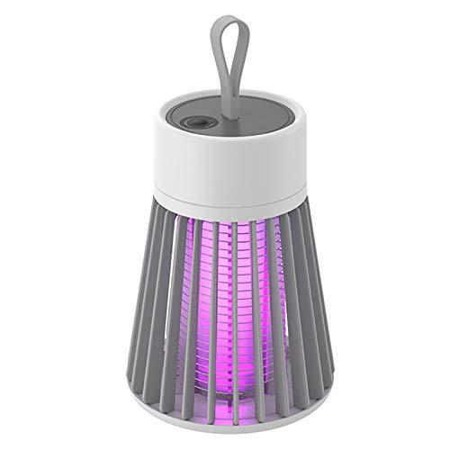 Milkvetch LáMpara EléCtrica para Matar Mosquitos Trampa de Luz LED USB PortáTil Insecto Volador Asesino de Insectos Zapper Plagas Repelente de Control -03 Gris