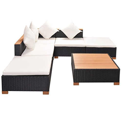 vidaXL Gartenmöbel 6-TLG. Poly Rattan Schwarz Sitzgruppe Lounge Gartenset Sofa - 3