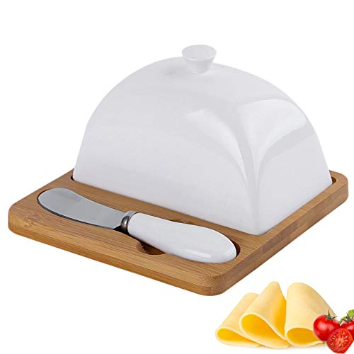 AJGH Ceramic Butter Dish with Lid,Butter Knife and Anti-Slid Bamboo Tray, Porcelain Butter Keeper Container, Dishwasher Safe