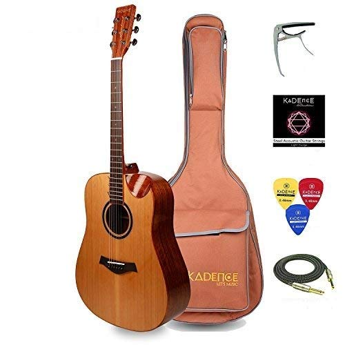 Kadence Slowhand Series Premium Jumbo Acoustic Guitar, Solid Wood Cear Top, Zebra Wood, Combo with Heavy Padded Bag, Instrument cable, Pro Capo and Fiber Body Stand. SH-100