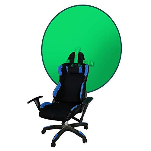 Greenscreen, 4.7Ft Faltbar Hintergrund Greenscreen für Stuhl mit Tragetasche, Hintergrund Lehne Greenscreen Durchmesser 142 cm für Fotografie, Zoom, Video, Streaming, Doppelseitiger Chromakey Grün