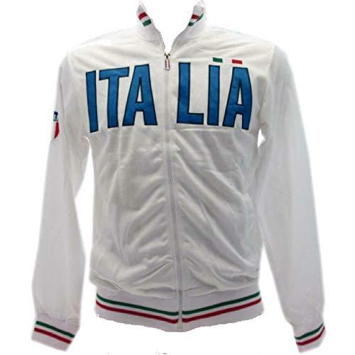 Felpa Italia Zip Intera Senza Cappuccio PS 32613-bis (Bianco, L)