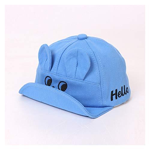 Chapeau 2021 Spring Summer Hat Lettre Hello Broderie Doux BRIM Baby Girl Girl Capuchon de baseball avec oreilles Enfants Sun Chapeau Casquettes pour enfants enfant ( Color : Blue , Size : 48 50cm )