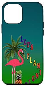 Let's Flamingle, Flamingo and Pineapple, Palm Tree iPhone Case
