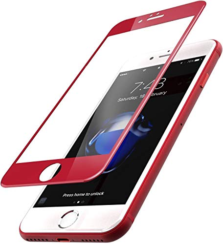 [2 Pack] ISKIP Screen Protector for iPhone 7 Plus/8 Plus, 0.2mm Ultra Clear 3D Curved Full Coverage Soft Edge Anti-Shatter Film for iPhone 7 Plus and iPhone 8 Plus Model 5.5 (Red)