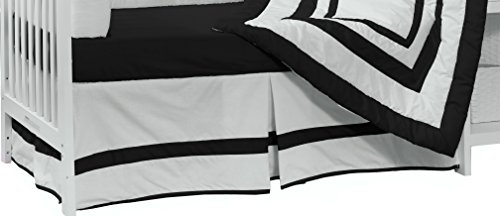 Baby Doll Bedding Modern Hotel Style Nuetral Crib Skirt/Dust Ruffle, Black