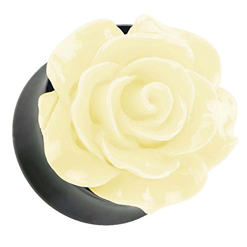 Piercingfaktor Ohr Plug Flesh Tunnel Piercing Ohrpiercing Rose in 3D Optik Creme 8mm
