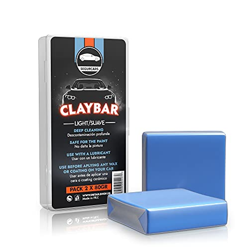 Segurcars - ClayBar Azul para el detailing y descontaminado de pintura de automóviles | Barra de arcilla para coche | Claybar 2 piezas