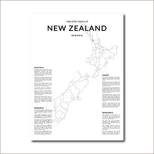 Nieuw-zeeland Landkaart Art Poster En Prints Canvas Schilderij Wall Art Voor Woonkamer Home Decor-50x70cm (geen frame)