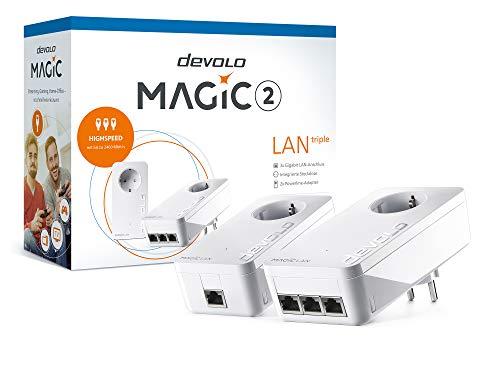 devolo Magic 2 LAN – 2400 triple Starter Kit: Weltweit schnellstes Powerline LAN-Adapter-Set für Ihr Highspeed-Heimnetzwerk, ideal für Home Office (2400 Mbit/s, 3x Gigabit LAN-Anschlüsse, G.hn)