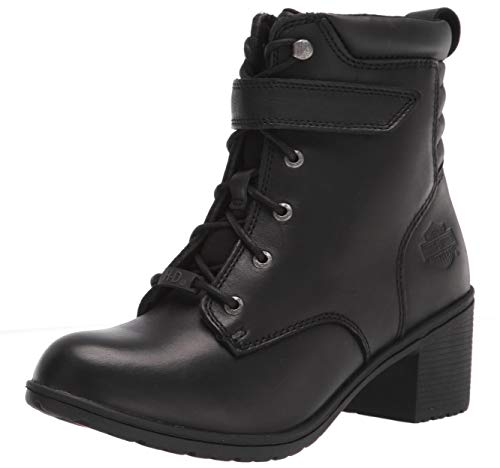 "HARLEY-DAVIDSON FOOTWEAR Women's Fannin 5"" Lace Motorcycle Boot, Black, 7.5"