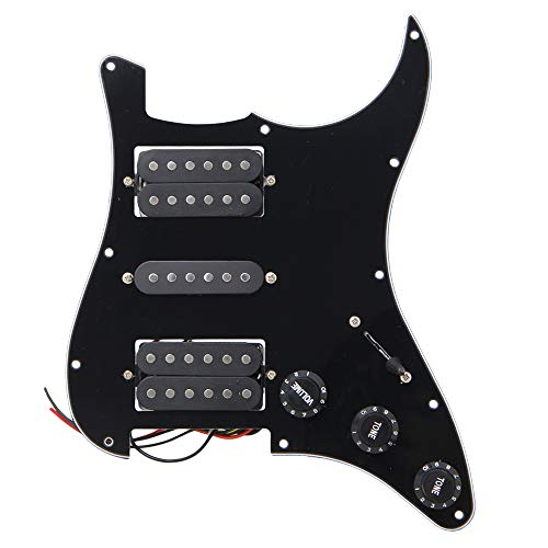Loaded Prewired Pickguard Guard Plate with HSH Pickup for Electric Guitar (Black)