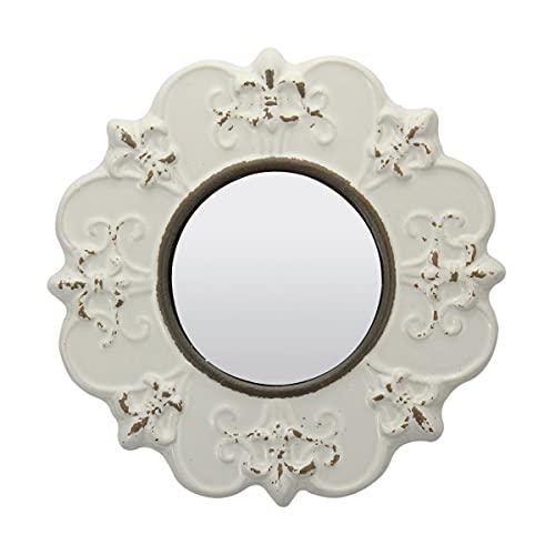 Stonebriar Decorative 8' Antique White Round Ceramic Accent Wall Mirror