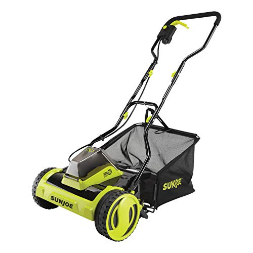 Sun Joe 24V-CRLM15-CT 24-Volt iON+ Cordless Push Reel Mower w/Rear Collection Bag, Tool Only...