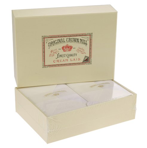 Original Crown Mill Luxury A5 Laid Paper Writing Box Set with C6 Lined Envelopes - Grey (Pack of 100 Sheets)