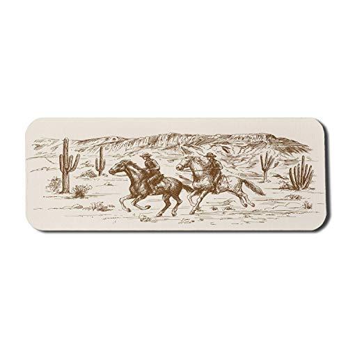 Western Computer Mouse Pad, Landthema Hand gezeichnete Illustration der amerikanischen Wild-West-Wüste mit Cowboys, Rechteck rutschfeste Gummi Mousepad große Creme Umber