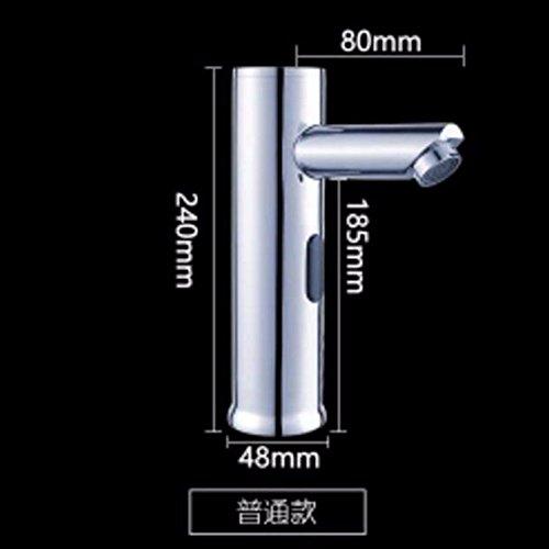 Moderne eenvoudige messing gebouwd gepolijst warm en koud wastafel kraan badkamer wastafel kraan boven Counter Basin automatische sensor kraan warm en koud medische inductie hand wasmachine koper A