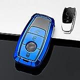 HIBEYO Funda para llave de coche inteligente compatible con Mercedes, carcasa de TPU para Benz Clase E S Clase AMG, caja para llaves con mando a distancia, 3 botones, color azul