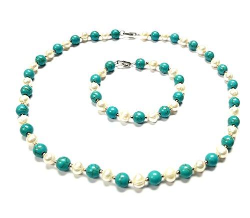 Türkis-Weiß-Süßwasser-Perlenkette und Armband-Set für Frauen und Mädchen