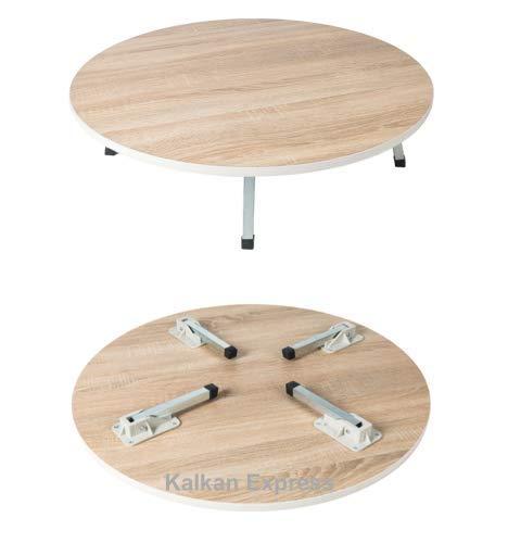 Traditionelle Teig Tisch Klapptisch Bodentisch Yer Sofra Spieltisch Esstisch Marmor Design Schwarz/Grau | Holz Braun 50-90cm Farbe Holzfarbe, Größe Ø 80cm