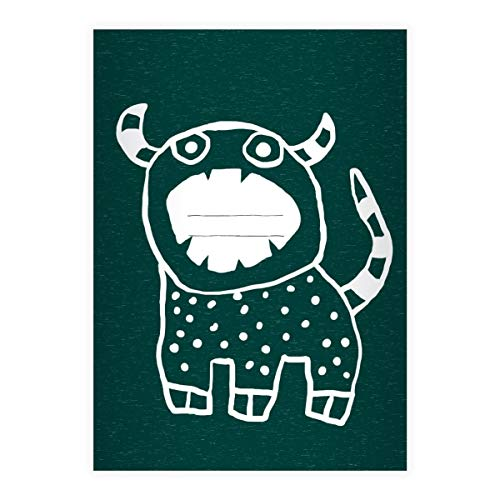 2 coole Sorgenfresser DIN A5 Grundschul Hefte mit Monster, grün Kontrastlineatur 1, Grundschule 1. Klasse Einschulung