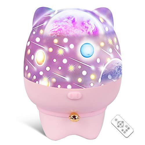 Lámpara Proyector Estrellas luz nocturna LED Light - 360° Rotación Músic Lampara con Control Remoto Romántica Luz de La Noche para Cumpleaños días festivos Luz nocturna para niño, color rosa