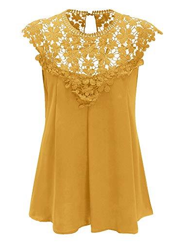 Milumia Women's Floral Lace Cut Out Shoulder Keyhole Back Sleeveless Chiffon Loose Shell Blouse Tank Top Yellow Medium