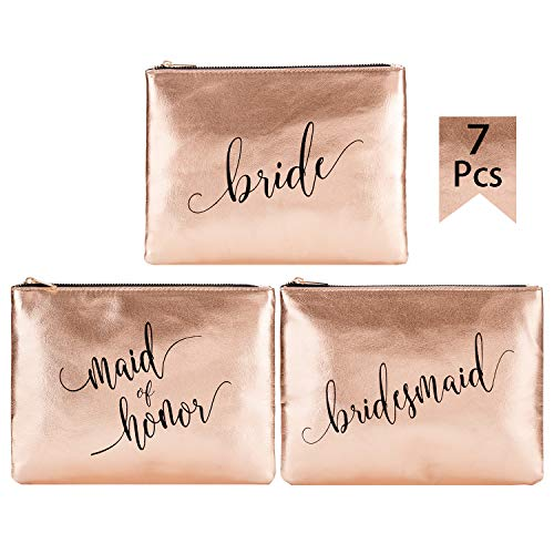 Crisky Champagne Bridesmaid Makeup Bags for Bridal Shower, Bachelorette, Wedding Shower Cosmetic Bags for