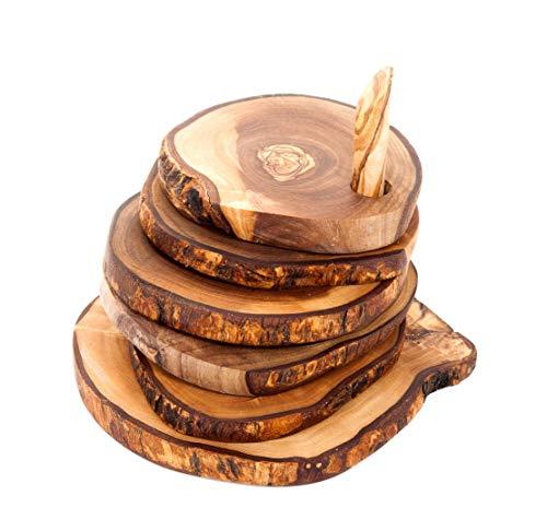Sottobicchieri rustici in legno di ulivo tunisino su una gola (6)