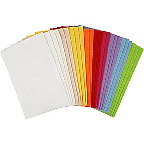 Craft - Fogli di feltro assortiti, 20 x 30 cm, colori assortiti, 24 fogli assortiti