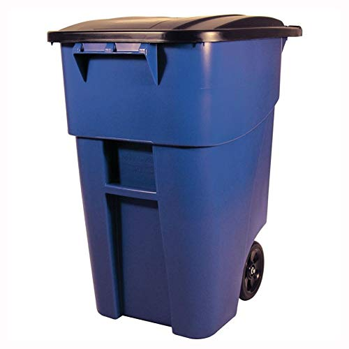 Big Save! Trash Can & Recycle Bin, 50 Gallon Blue Commercial Heavy-Duty Rollout Trash Can Waste/Util...