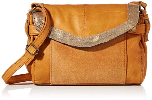 PIECES Womens PCISAURA LEATHER SMALL CROSS BODY Tasche, Cognac Detail:metallic gold, ONE SIZE