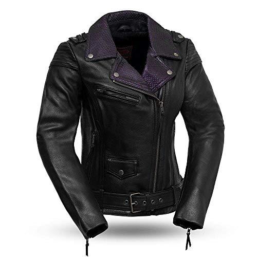 First MFG Co. - Iris - Women's Leather Motorcycle Jacket (Black, Large)