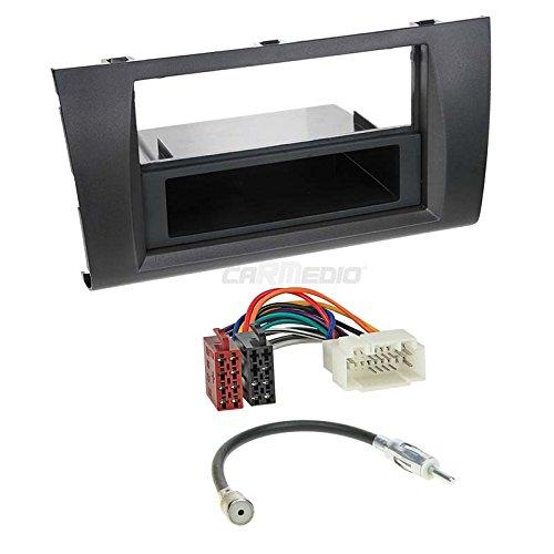 Carmedio Suzuki Swift 3 05-10 1-DIN Autoradio Einbauset in original Plug&Play Qualität mit Antennenadapter Radioanschlusskabel Zubehör und Radioblende Einbaurahmen schwarz