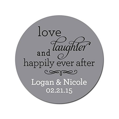 Personalized Customized Wedding Favor Thank You Stickers - Love Laughter and Happily Ever After - Choose Your Size