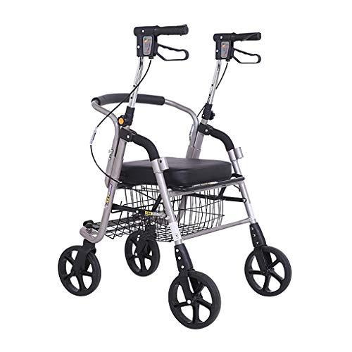 Rollatoren Einkaufswagen älterer Spaziergänger, Faltbare Linke und rechte Bremsanlage 100KG, leicht zu transportierender Allradwagen