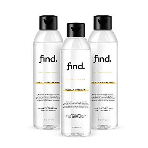 FIND - Agua micelar 3 en 1 para piel seca y...