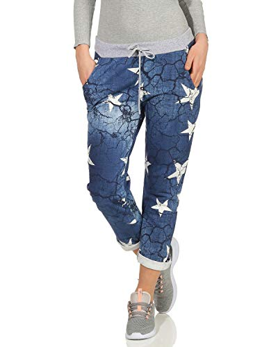 ZARMEXX Damen Sweatpants Baggy Boyfriend Sommerhose Sport All-Over Print One Size Muster 2 One Size (36-40)
