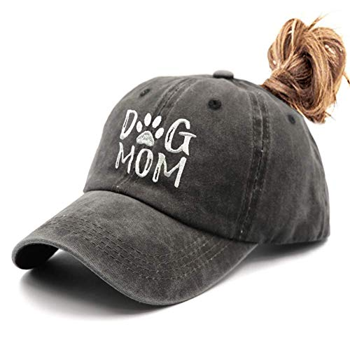 Waldeal Women's Ponytail Embroidered Dog Mom Washed Hat Adjustable Baseball Cap Black
