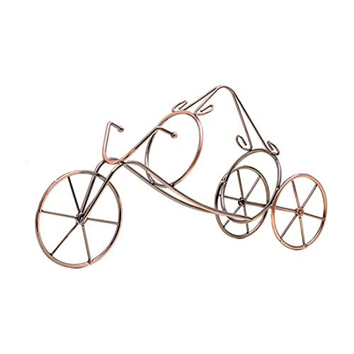 Dunmo Soporte de botella de vino en forma de triciclo con 1 botella de vino creatividad, hierro dorado, perfecto para encimera de cocina